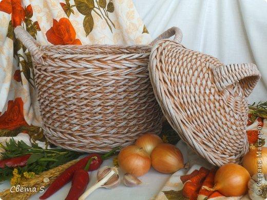 Мастер-класс Поделка изделие Плетение Корзины для овощей - Бумага газетная Трубочки бумажные фото 7