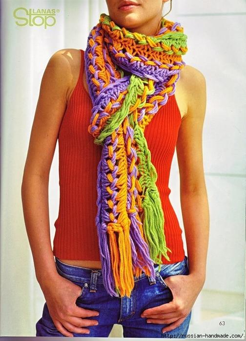 Вязание на линейке! Модный шарф для девушки.