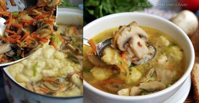 Гречневый суп с грибами и ка…