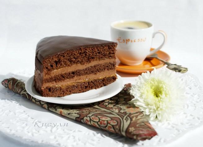 Шоколадно-кофейный торт с абрикосовым джемом