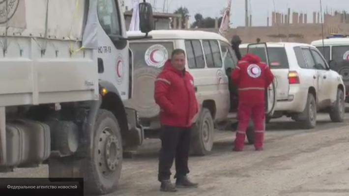 ФАН опубликовал видео прохода гумконвоя в сирийском Хаджине