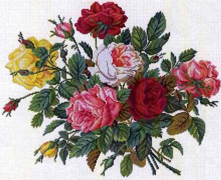 """Схемы к вышивке крестом """"Букет роз"""""""