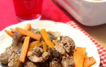 Печень, запеченная с луком и морковью