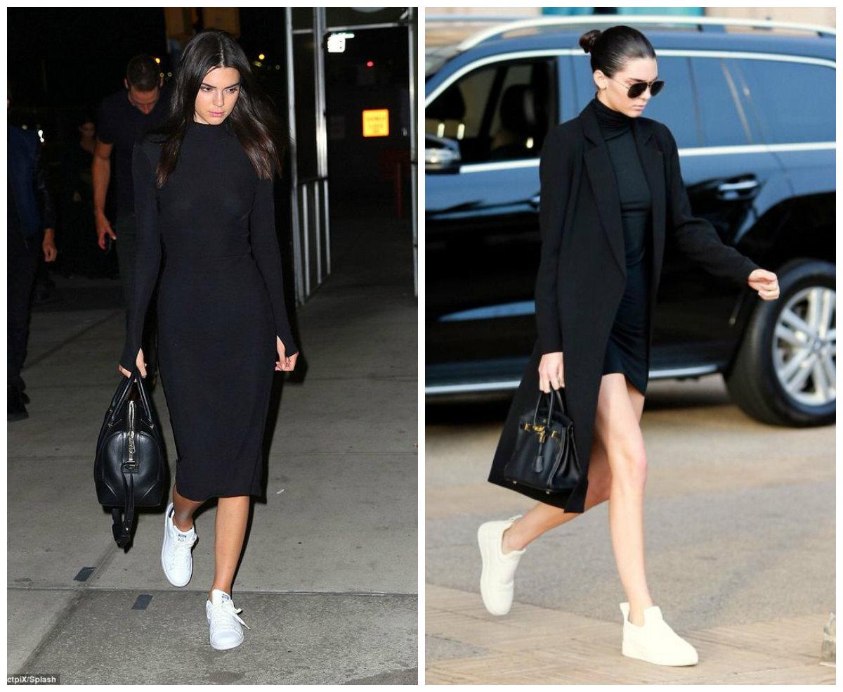 черная одежда и белые кроссовки