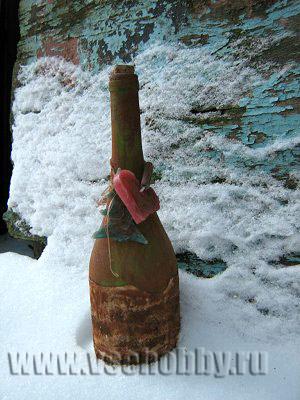 как декорировать бутылки своими руками бумагой пряностями и парафином