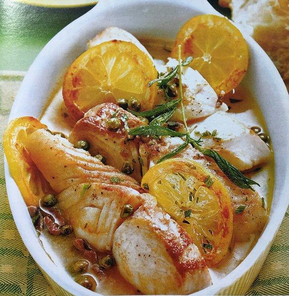 Рыбное филе в пикантном соусе... Нежный деликатес с каперсами и вином.