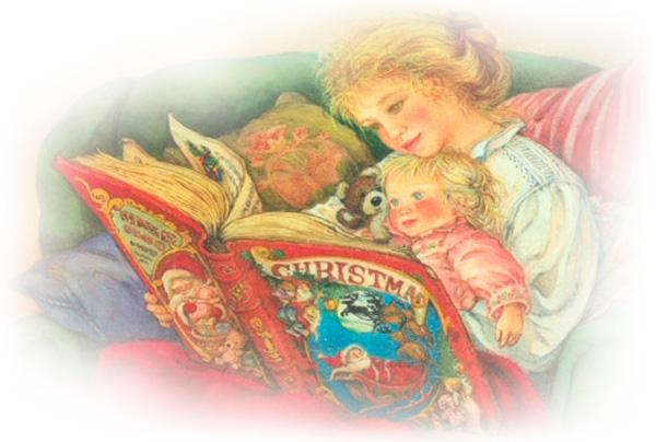 мать читающая книгу своему малышу