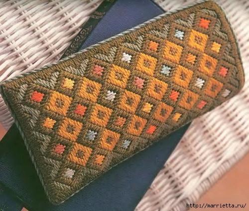 Флорентийская вышивка в технике барджелло — вышиваем футляр для очков (МК)