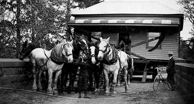 Удивительные редкие фото о том, как раньше передвигали целые дома с помощью лошадей
