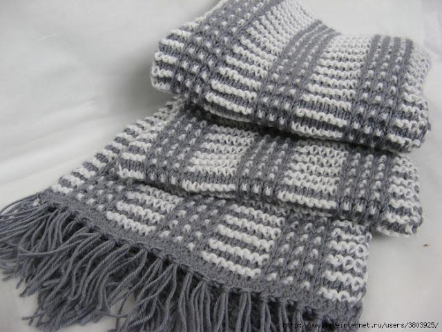 Стильный мужской шарф спицами