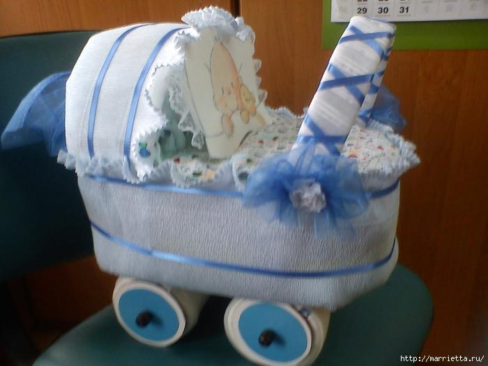Подарок для новорожденного из памперсов своими руками мастер класс фото