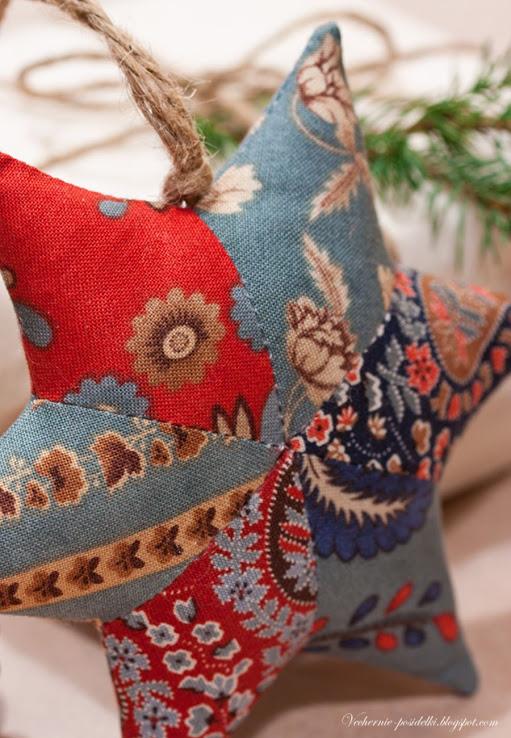 Новогодние звезды из лоскутков. Прекрасное украшение и подарок. МК
