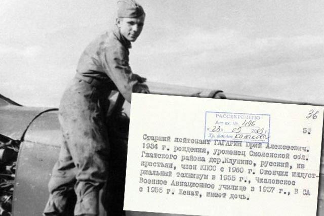Рассекреченные документы о службе Юрия Гагарина (2 фото)
