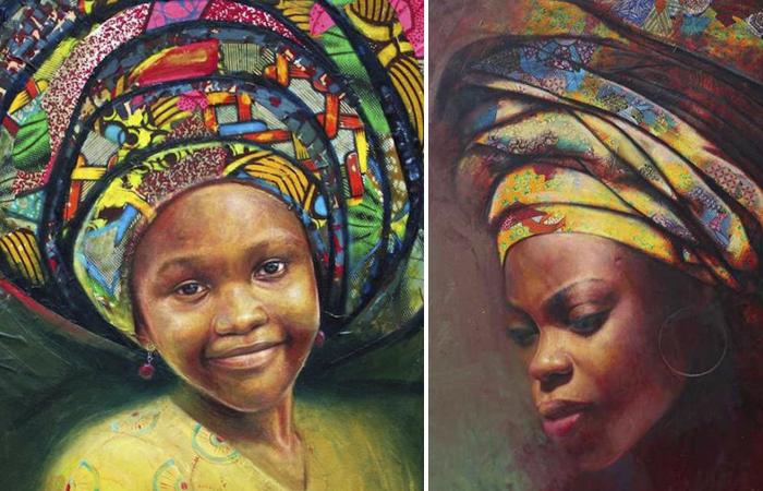 Художник, которого называют «восходящей звездой Африки», рисует самобытные портреты женщин в геле