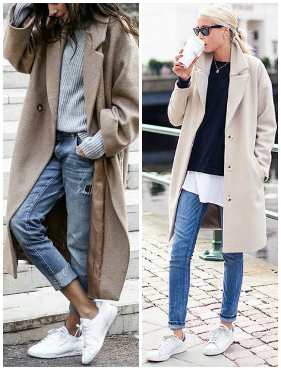 кроссовки с пальто