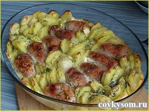 Мясные рулеты с картошкой под сливочным соусом