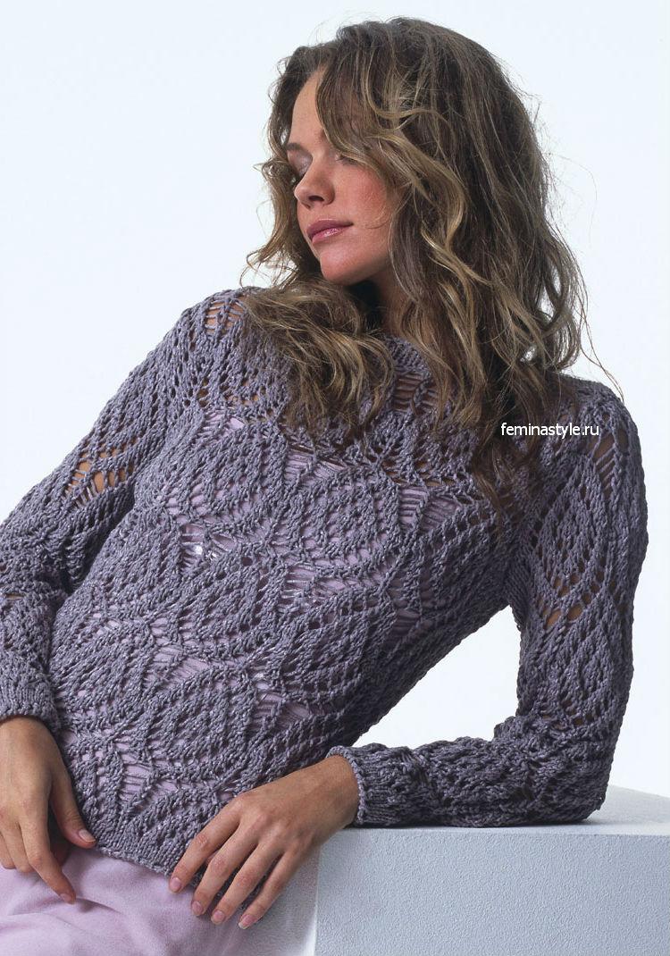 Ажурный пуловер спицами и крючком