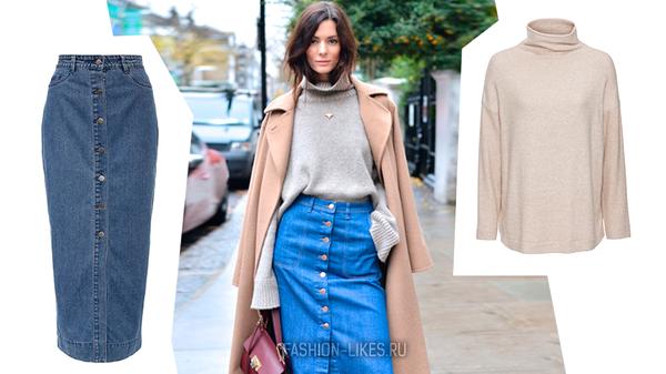 Как носить джинсовую юбку в холода и выглядеть потрясающе