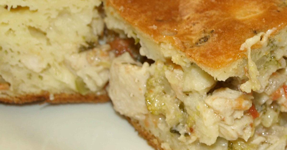 Пирог из курицы с капустой