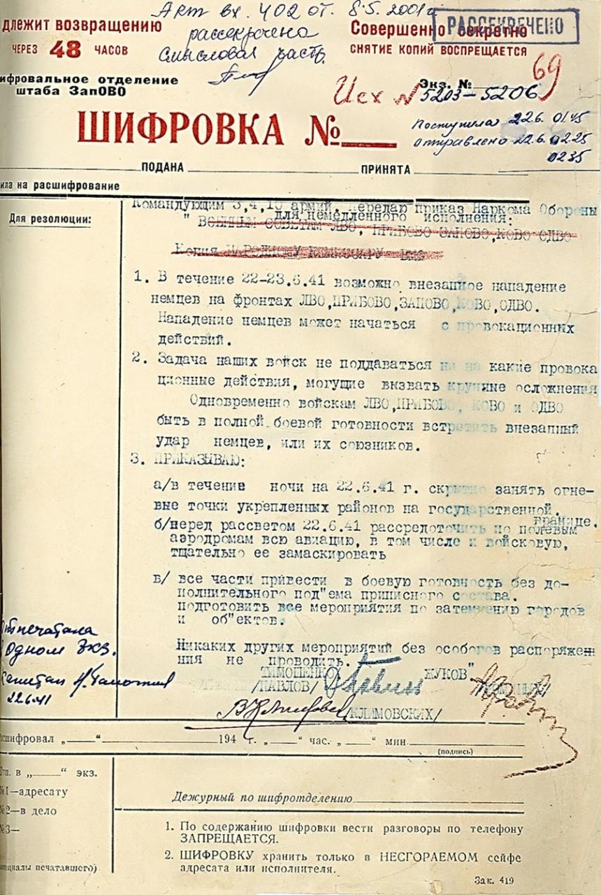 Начало Великой Отечественной Войны в документах