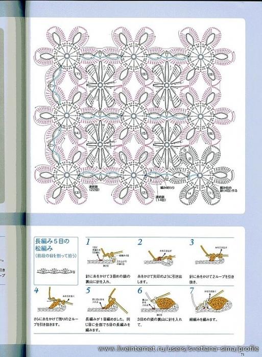 Цветочные мотивы вязание крючком безотрывное