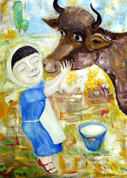 Женщина, стоящая десять коров