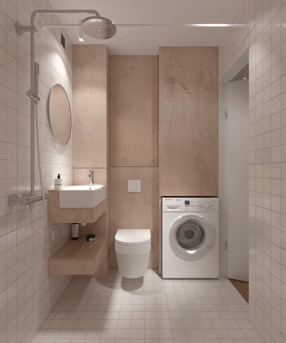 Фотография: Ванная в стиле Минимализм, Квартира, Проект недели, Хрущевка, 1 комната, до 40 метров, Находка, KDVA Architects – фото на InMyRoom.ru