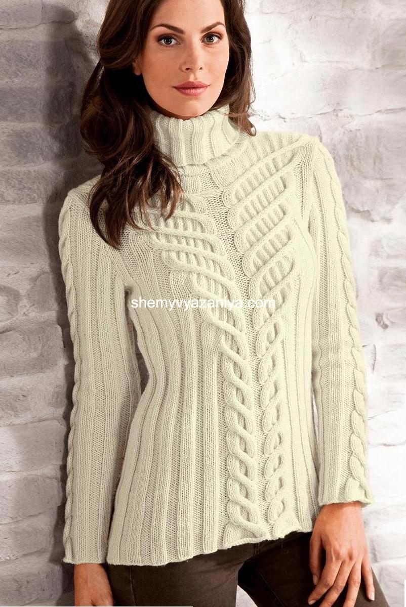 Белый вязанный женский свитер