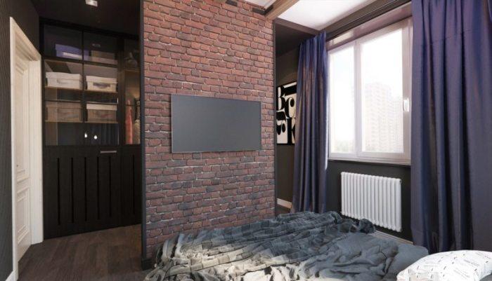 Кирпичная и пеноблоковая перегородка в гостиной спальне считают достаточно надёжной и мобильной. Она выдерживает серьёзные нагрузки.