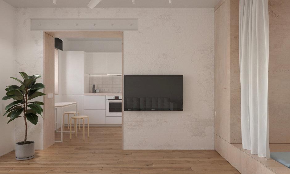 Фотография: Кухня и столовая в стиле Минимализм, Квартира, Проект недели, Хрущевка, 1 комната, до 40 метров, Находка, KDVA Architects – фото на InMyRoom.ru
