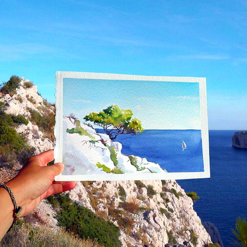 Удивительно — акварель в реальном пейзаже работы Елены Ефремовой