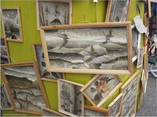 Картины из чешуи рыбы....