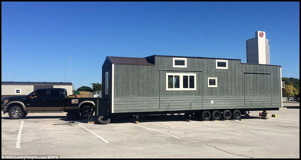 Ambitious: The project took five months with Todd, 49, who has been building and renovating houses for 15 years, custom-making the trailer from scratch and building their home with the couple's son Andrew, 12, this summer