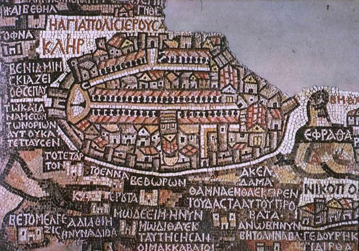 Красивая и информативная мозаичная карта из Мадабы.