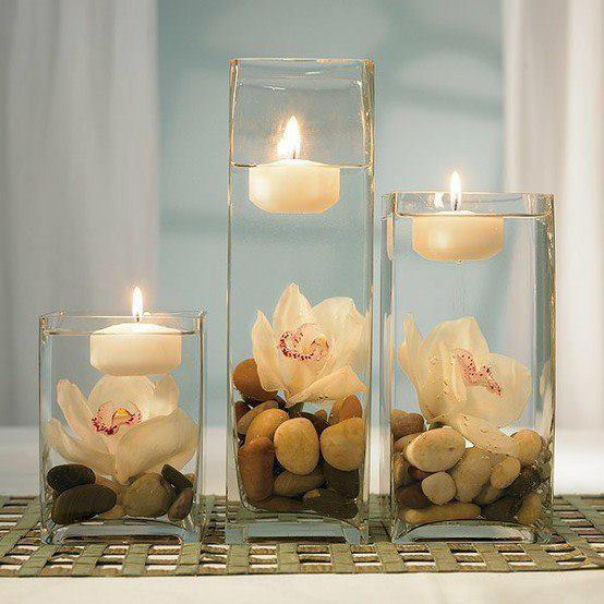 Интересная идея подсвечника - свеча на воде
