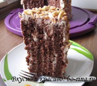 Шоколадный торт с творожно-зефирным кремом