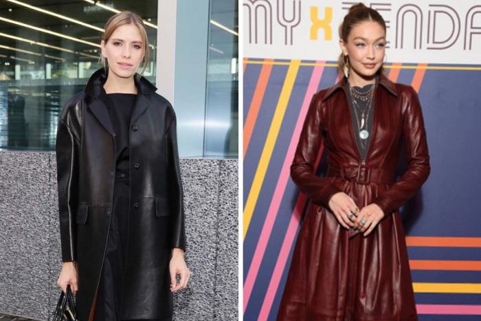 Модные образы с кожаным пальто на примере звезд