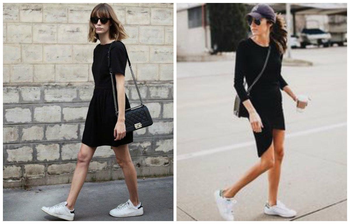 белые кроссовки и платье
