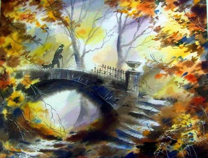 Кружатся и падают листья — мелодия осени в красках городских пейзажей Виктора Зелика