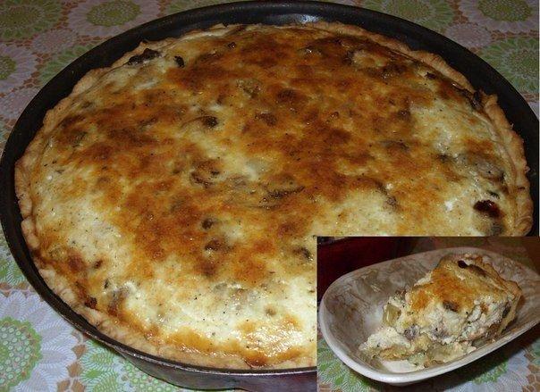 Рецепт для вашей кулинарной тетрадки — Киш с грибами и курицей!