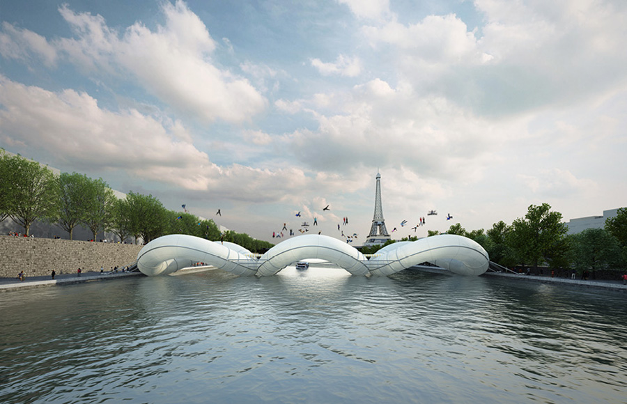 Концепт необычного моста через Сену