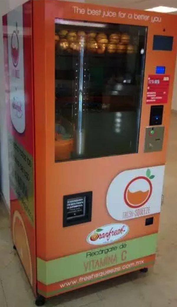 5. Этот делает апельсиновый фреш прямо у вас на глазах Вендинговые автоматы, С миру по нитке, вендинговый аппарат, вот это да!, до чего техника дошла, познавательно, торговые автоматы, торговый автомат