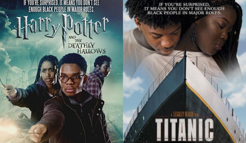 На улицах Лондона появились постеры к известным фильмам, где белых актеров заменили темнокожими