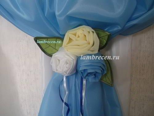 Как сделать розу из ткани для штор видео