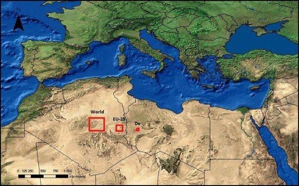 Площадь пустыни, которую нужно покрыть солнечными батареями, чтобы получить энергию, необходимую сегодня для всего мира, Европы и Германии