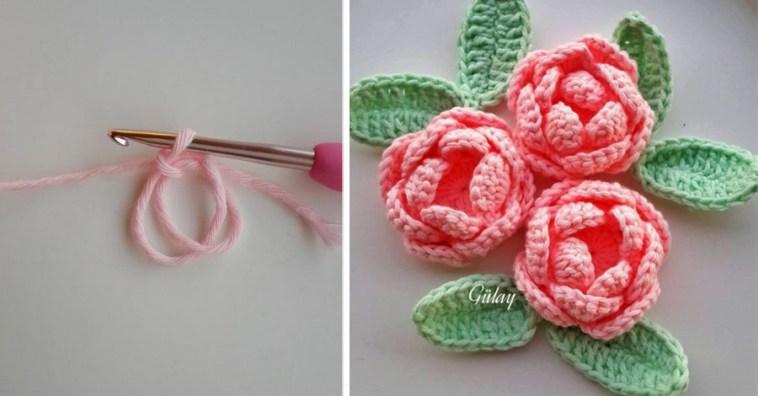 Изящные розы крючком