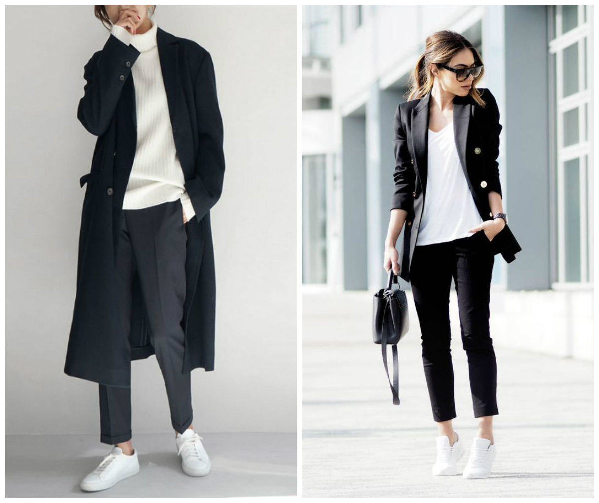 кроссовки и укрорченные брюки