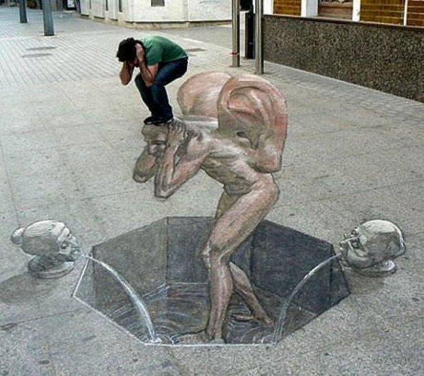 Прикольные 3D рисунки на тротуарах