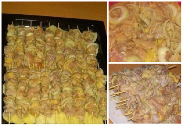 Маринованный куриный шашлык с картошкой, приготовленный в духовке