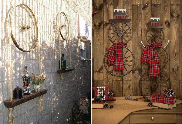 Как просто и красиво задействовать велосипедное колесо для декора